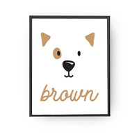 Brown Poster, Kids Decoration, Learning Colors, School Room Decor, Nursery Art, Animal Poster, Educational Art, Baby Art, Typography Poster