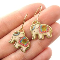 Circus Elephant Shaped Illustrated Animal Dangle Earrings | DOTOLY