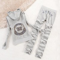 Juicy Couture Crown Velour Tracksuit 2196 2pcs Women Suits Grey