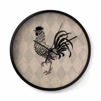 Vintage Style Rooster Wall Clock with tan and taupe harlequin background