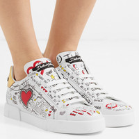 Dolce & Gabbana - Printed leather sneakers