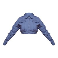Plus Blue Utility Cropped Jacket