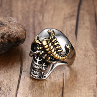 Men's Punk Skull Gold Scorpions Gothic Rings for Men Stainless Steel Vintage Biker Men Jewelry Halloween Gift with 30MM Wide