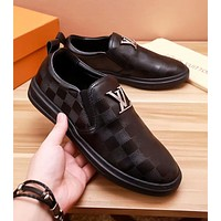 LV Louis Vuitton Trending Man Casual Black Tartan Shoes Flats Shoes I-OMDP-GD
