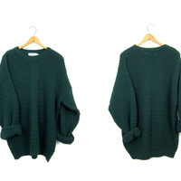 Oversize Waffle Knit Thermal Cotton Sweater Top Army Green Oversized 90s Boyfriend Pullover Slouchy Chunky Sweater Mens Large