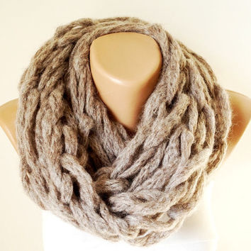 Winter Accessories-Infinity Scarf - Loop Scarf - Circle Scarf - Cowl Scarf - Mohair Angora - BEIGE-Chunky Chain Cozy