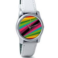 Abstract Art Pattern Multicolored Wrist Watch