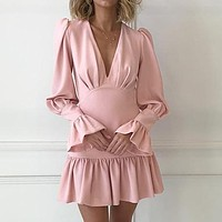Women Fashion V Neck Short Dress Female Chic Flare Long Sleeve Slim Mini Party Dress Vestidos