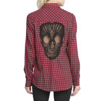 Burgundy Plaid Cutout Lace Skull Pattern Long Sleeves Blouse