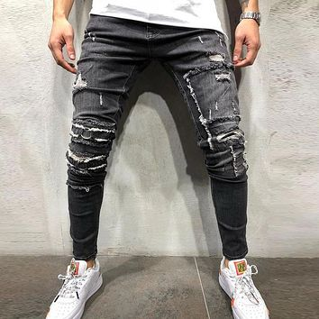Ripped Skinny Distressed Destroyed Slim Stretch Biker Jeans With Holes