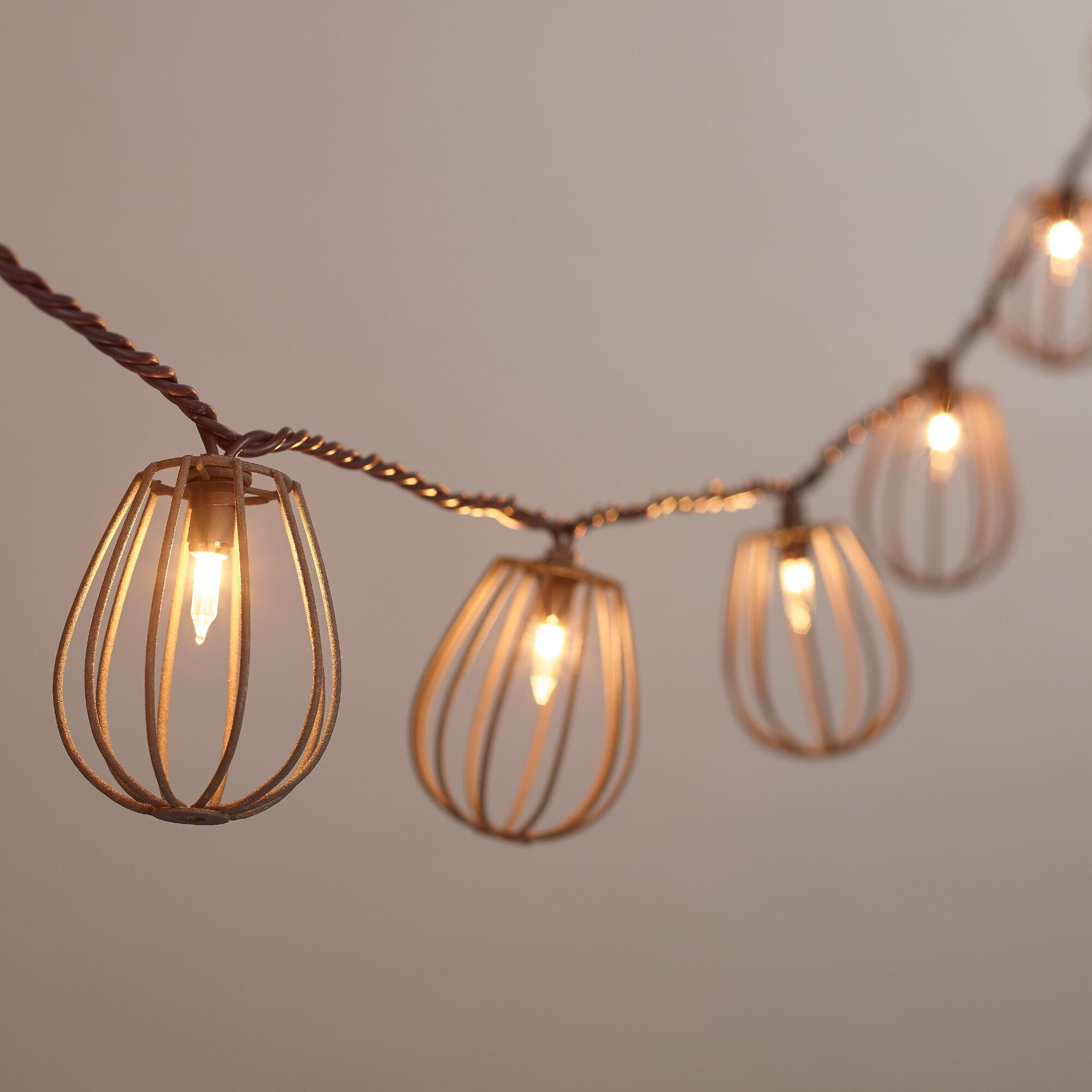 Cage String Lights Kmart : Rustic Wire Cage 10-Bulb String Lights from Cost Plus World