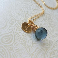 Personalized Initial Necklace with Wire Wrapped Dark Blue Sapphire Onion Briolette in gold Fill-Gift for Best Friend, Gift for New Mom,