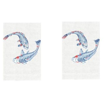 Koi Fish Linen Guest Towels by Anali (Set of 2)