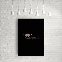 BLACK ROSE GOLD QUEEN CROWN ARTWORK POSTERS