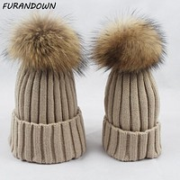 Twinning Style Parent-child Winter Beanie Hats Baby Children Real Raccoon Fur Hat Kids Pompom Skullies Caps