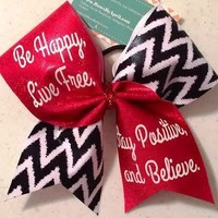 Be Happy, Live Free, Stay Positive and Believe Red and Zig Zag Cheer Bow - Bows by April Express