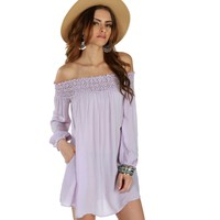 Lavender Crochet Off The Shoulder Tunic