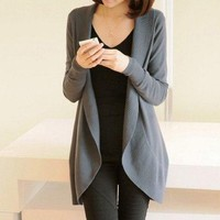 2016 Autumn Winter New Women Long Sleeve Knitted Sweater Casual Solid Scarf Collar Cardigans Sweaters