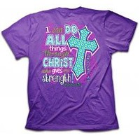 Cherished Girl I Can Do All Things Chevron Cross Girlie Christian Bright Short Sleeve T Shirt