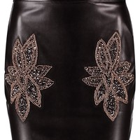 Petite Katie Embellished Leather Look Mini Skirt | Boohoo