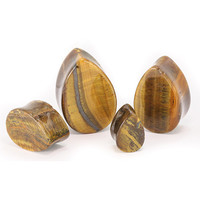 Tiger Eye Teardrop Stone Plugs (8mm-22mm)