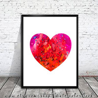 Heart 3 Watercolor painting art Print, Children's Wall Art, Home Decor, Heart art, watercolor painting, Heart poster, Heart Illustration