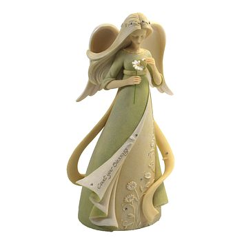 Foundations Count Your Blessings Angel Daisy Flower Figurine - 6007225