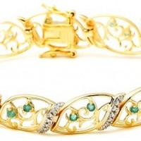"""18k Yellow Gold-Plated Sterling Silver Emerald Bracelet, 7.5"""""""