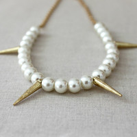 Pearl and Spike Necklace, Gold Spike Necklace, Beaded Necklace Edgy Modern Fashion, Sugar n Spice