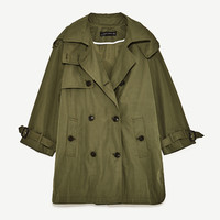 SHORT TRENCH COAT WITH HOOD DETAILS