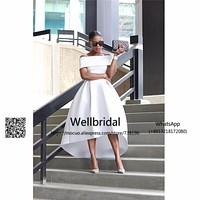 Hi Lo Gown 2017 New Long prom dresses Boat Neck Short sleeves vestidos de fiesta Satin White Evening Prom Party Dress
