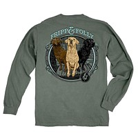 Three Dogs Long Sleeve Tee in Light Green by Fripp & Folly