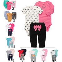 Children Suits Hot Kids Spring and Autumn Comfortable and Cotton Girls Clothes Fashion Infant Cute Printing and Long Sleeve Baby Suits Three