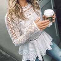 Explosion supply autumn and winter new sexy openwork lace ruffled shirt blouse