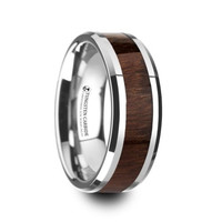 DACIAN Carpathian Wood Inlaid Tungsten Carbide Ring with Bevels - 8mm