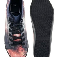 ASOS High Top Sneakers With Galaxy Print
