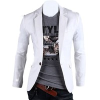 Partiss Mens Slim Fit One Button Outerwear