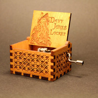 Engraved  wooden music box (Davy Jones Locket - Pirates Of The Caribbean)