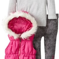 Calvin Klein Baby Girls' Hooded Vest With Gray Top And Pant, Pink, 24 Months
