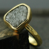 18k Yellow Gold and Rough Diamond Ring- Custom Made to Order- Size F Diamonds