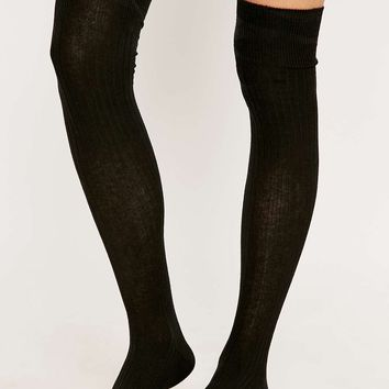 Over-the-Knee Black Ribbed Socks - Urban Outfitters