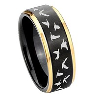 8mm Flying Geese Hunting Gold Step Edges Tungsten Carbide Mens Wedding Ring