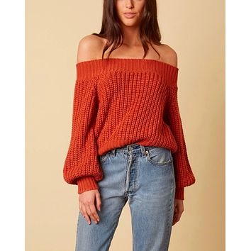 Final Sale - Cotton Candy LA - Off-Shoulders Knit Bishop Sleeves Sweater in Rust