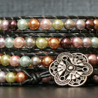 pearl wrap bracelet- pastel glass pearls on pewter leather- beaded boho bohemian jewelry - multicolored