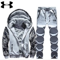 Under Armour PRINT HOODIE THICK KEEP WARM TOP AND PANTS TWO PIECE SUIT Light grey