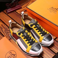 Hermes Men's Leather Parfums Low Top Sneakers Shoes