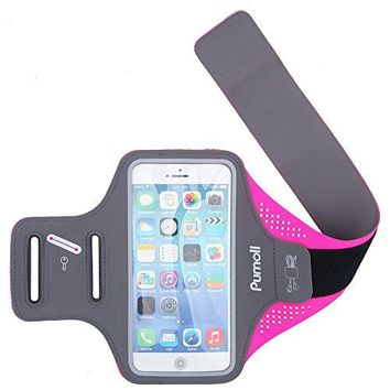 Sports Armband, Pumoli Womens & Mens Running Armbands Mobile Phone Holder cases with [Fingerprint Touch] for Outdoor Gym Cycling Jogging Fitness Fit iphone 6s 7 Plus Samsung Galaxy s7 (Rose 5.5-Inch).