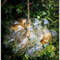 Custom Ethereal Gilded Floating Glass Bubble Chandelier