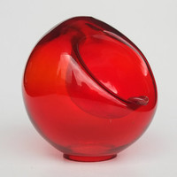 Vintage Glass Orb Ashtray / Bright Red / Retro 60's / Sphere Shaped