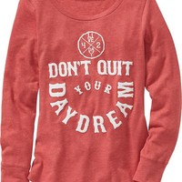 Old Navy Girls Rounded Hem Graphic Tee